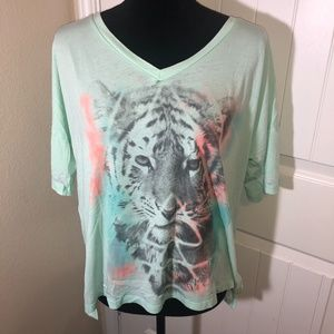 Miss Me Mint Green Tiger Graphic Tee Size Large